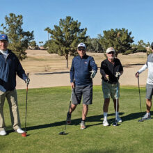 """PCM9GA's """"Not the Jersey Boys"""" show off their best song and dance before teeing off. Left to right: Steve Rottger, Bruce Dice, Tim Munson, and Scott Crawford"""