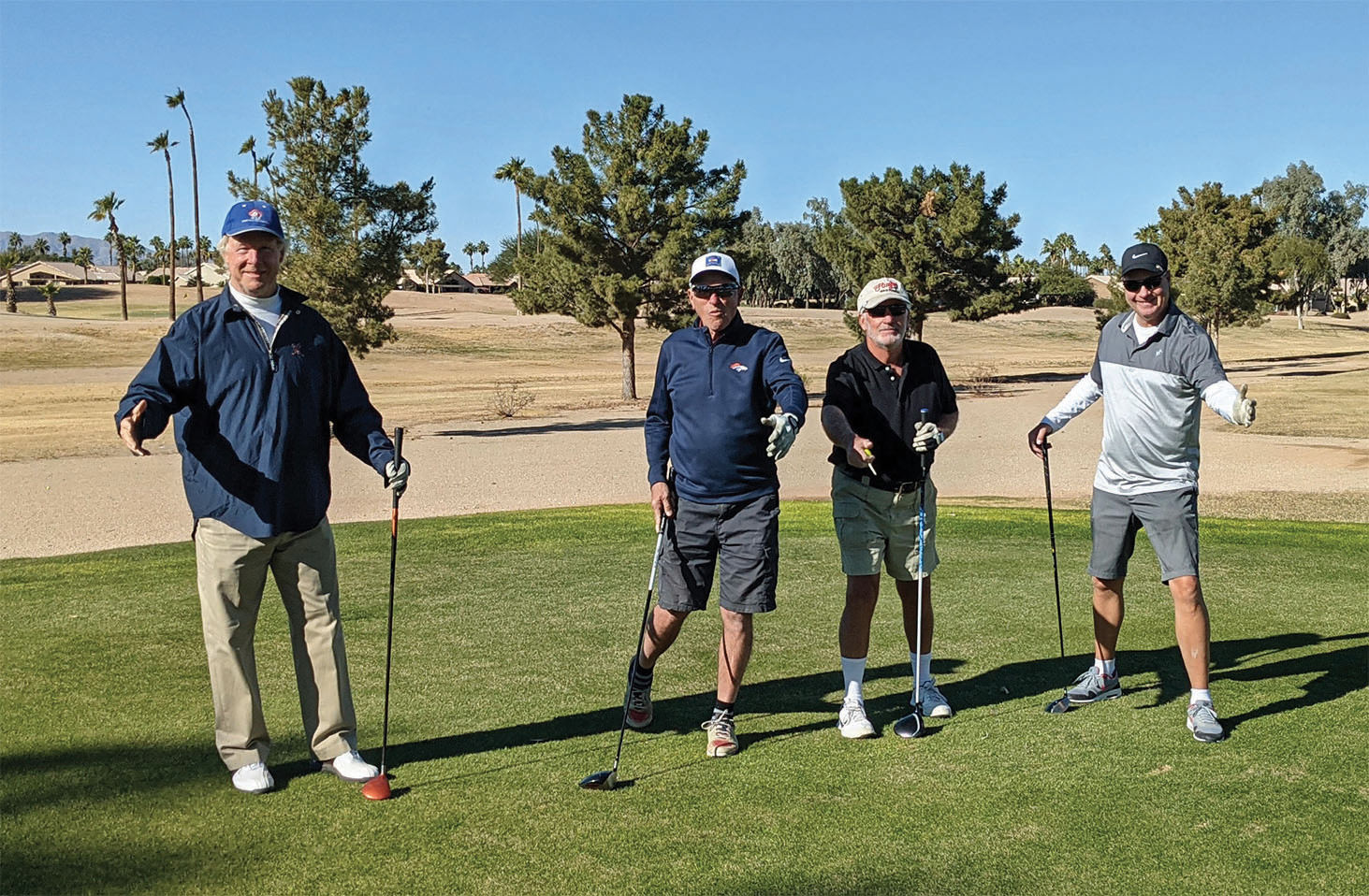 "PCM9GA's ""Not the Jersey Boys"" show off their best song and dance before teeing off. Left to right: Steve Rottger, Bruce Dice, Tim Munson, and Scott Crawford"