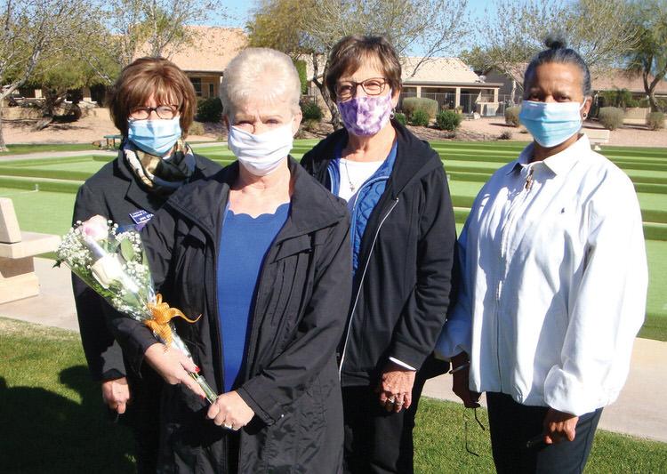 Board members Jan Stash, Sandy Hoffman, and Cathi Hollis along with initiate Sandy Nix.