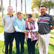 John McCahan, Barbara Patrow (Senior Gross Champion), Kathleen Carney (Senior Net Champion), and Ronnie Decker