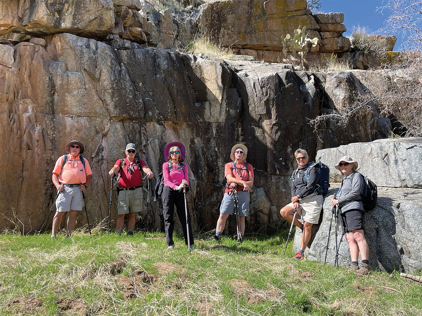 The hearty souls making this hike were (left to right): Mark Gruca, Dave Schuldt, Laurie Rosenbloom, Wayne McKinney, Diana Bedwell, and Linda Schmillen. (Photo by Dana Thomas)
