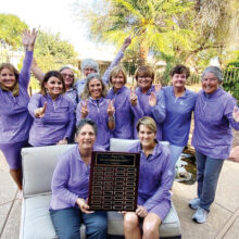 2020-21 Roadrunner League Champions (left to right) back row: Cindy Sota, Amber Rivera, Layne Sheridan, Susan Slaughter, Marilyn Reynolds, Mary Harris, Kathy Hubert-Wyss, Sheri Sears, and Ellen Enright; front row: co-captains Andrea Dilger and Sharon Hadley; not present: Monica Lee and Suzanne Kanaly