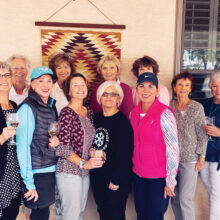 Roadrunners 2021 team. Front (left to right): Carol Hoffos, Sally Ward, Shelley Bain (co-captain), Kathleen Tyryfter, Vicki Shaner, Jean Bee, and Mary Zanella. Back: Karen Ludwig (luncheon hostess), Kay Skripka, Jo Werner (captain), and Randy Rosenbush. Missing from picture: Norma Whitley (photographer), Linda Post, Roxanne Forrest, Cathy Lopez, Jan Frens, Michelle Moskos, and Pam Wallace