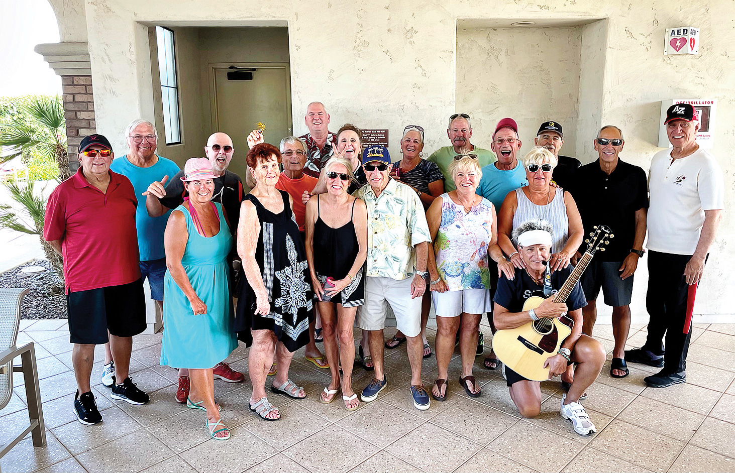 First row (left to right): Nadine Koch, Betty Chambers, Janice Rossi, Dennis Roelker, Marilyn Kinnie, Barb Dildine, and Alan Hoxie (kneeling); Second row: Steve Farley, Ted Blaine, Bill Fenster, Terry Rossi, Mike Coombs, Barbie Heck, Barb Dunson, Steve Domholt, Dave Burch, Josh Rabinowitz, Phil Duran, and Mark Peacock.