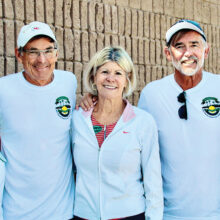 2020-21 PebbleCreek Pickleball Club board members (left to right): Judy Parker, Wade Johnson, Melodie Boyer, Jim Barbe, and Robin Weaver